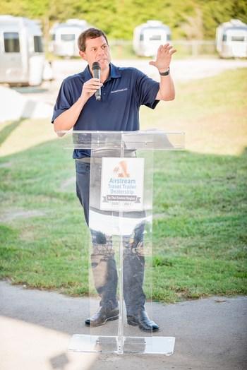 RV Retailer President and CEO, Jon Ferrando, addresses the crowd at Airstream groundbreaking event in Buda, TX