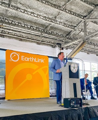 EarthLink CEO Glenn Goad announces the company's new customer support center to be located in Wise County, Virginia on September 14, 2021.