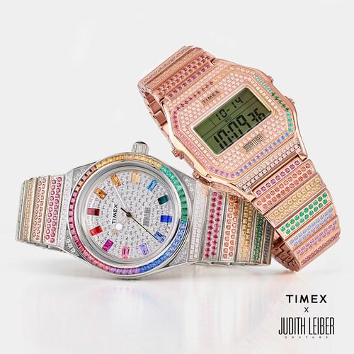 Timex x Judith Leiber: com mais de 900 cristais de Swarovski aplicados à mão, esta colaboração vibrante e colorida traz o brilho da passarela ao pulso.