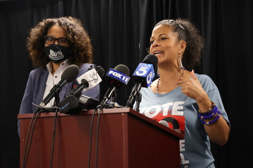 Senator Sydney Kamlager and Dr. Melina Abdullah of Black Lives Matter Los Angeles at AAVREP's Black Labor Day event. | Photo credit: Charles Keyes, African American Voter Registration, Education and Participation Project