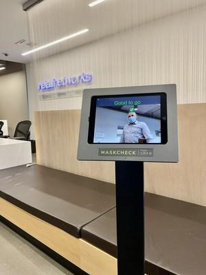 Close-up view of MaskCheck Kiosk displaying