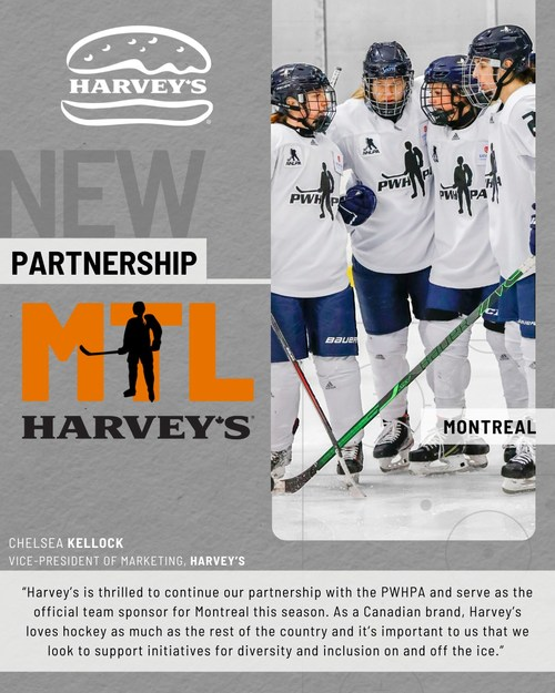 Montreal's PWHPA team to be named Team Harvey's for Upcoming Season (CNW Group/Harvey's)