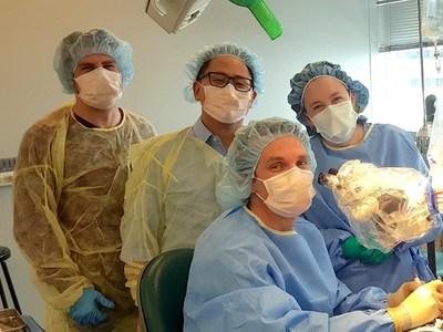 From left to right: Moritz Leber, PhD, Hubert Lim, PhD, Steven Zuniga, MD, Meredith Adams, MD