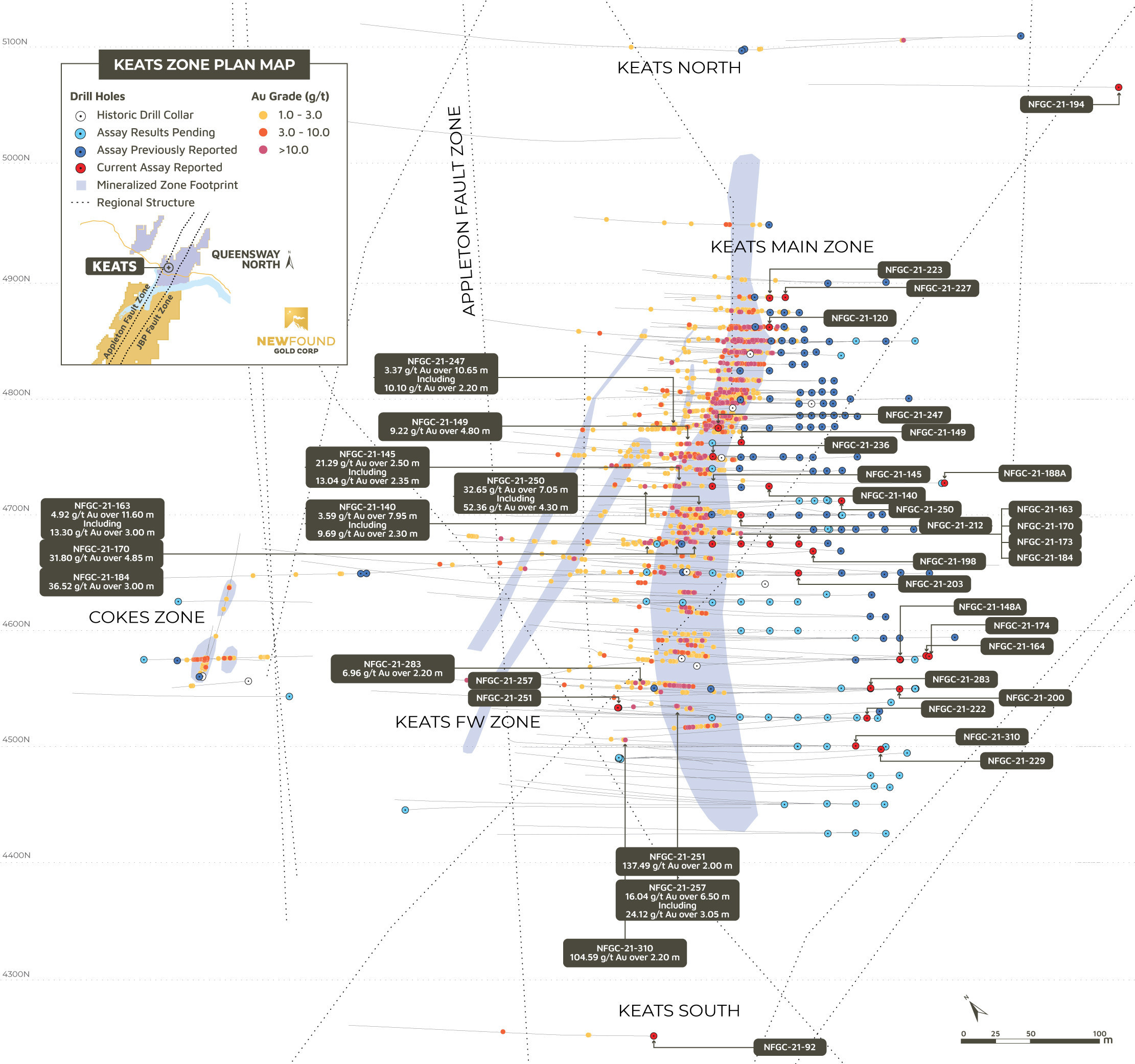 Figure 1. Keats Plan View (CNW Group/New Found Gold Corp.)