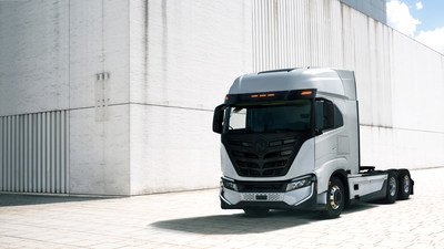 The first Nikola Tre BEV trucks produced in Ulm, Germany will be delivered to select customers in the United States in 2022. (PRNewsfoto/Nikola Corporation)