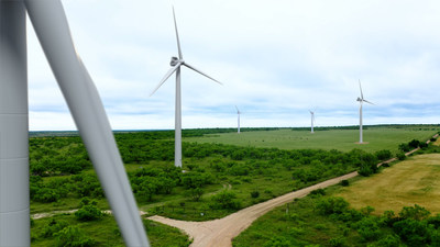 Pictured is 3D rendering of Azure Sky wind + storage project in Texas.