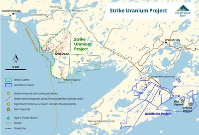 Figure 2: Strike Uranium Project infrastructure and geological setting. (CNW Group/Fortune Bay Corp.)