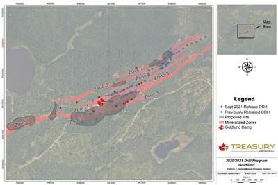 Figure 1: Goldlund 2021 Drill Collar Locations (CNW Group/Treasury Metals Inc.)