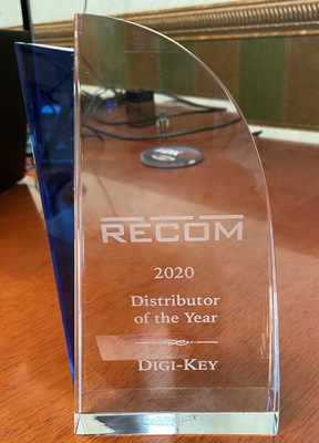RECOM Power recognizes Digi-Key Electronics with the Distributor of the Year Award for 2020.