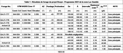 Table 1 : Résultats de forage du projet Rouyn - Programme 2021 de la zone Lac Gamble (Groupe CNW/Ressources Yorbeau Inc.)