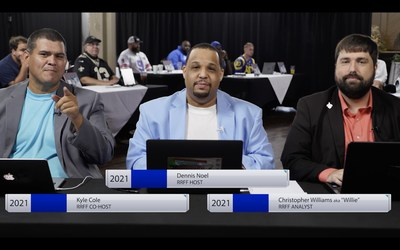 Dennis Noel , Kyle Cole and Christopher Williams at the 2021 Real Reality Fantasy Football draft