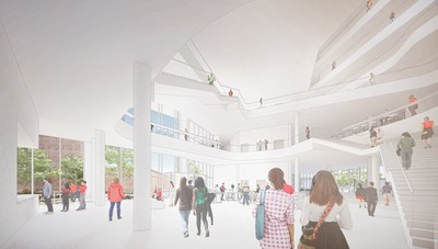 The interior of the planned School of Computer, Data & Information Sciences Building at the University of Wisconsin–Madison will be the center of the campus computer science community.