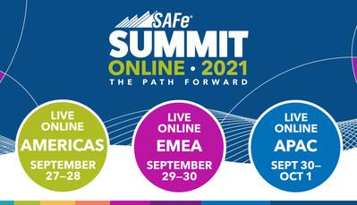 O evento 2021 Global SAFe Summit terá duração de dois dias e será realizado on-line em três fusos horários: Américas, Europa e Ásia. (PRNewsfoto/Scaled Agile, Inc.)