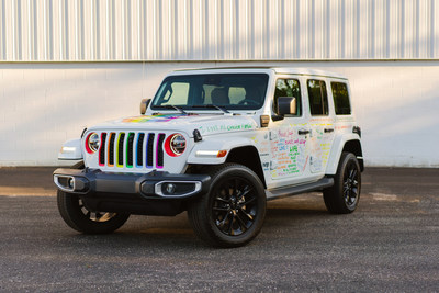 A specially wrapped 2021 Jeep Wrangler 4xe will serve as the grand marshal vehicle of the Motor City Pride parade. All Jeep vehicles in the parade will have specially designed rainbow grille inserts, with one of the Jeep Wrangler 4xes wrapped with messages of hope, acceptance and encouragement from Stellantis employees, and Jeep Brand social media fans and followers.