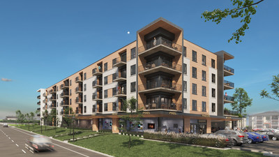 The Fonds immobilier de solidarité FTQ is teaming up once more with Cloriacité Investissements, this time on CLORIA Trois-Rivières, a commercial and residential rental project consisting of a 5-storey building with 120 apartments and commercial space on the ground floor. (CNW Group/Fonds de solidarité FTQ)