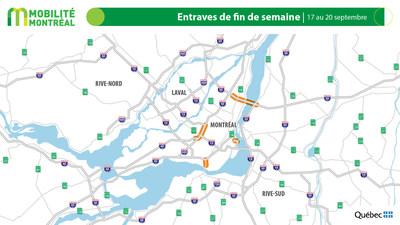 Carte générale des entraves, fin de semaine du 17 septembre (Groupe CNW/Ministère des Transports)