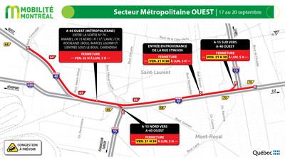 A40 ouest, fermeture complète à la sortie 70 (échangeur des Laurentides), fin de semaine du 17 septembre (Groupe CNW/Ministère des Transports)