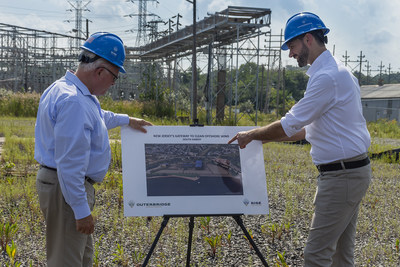 South Amboy Mayor Fred Henry (left) and Rise Light & Power CEO Clint Plummer review future plans to transform the former coal-fired Werner Generating Station into a clean energy hub