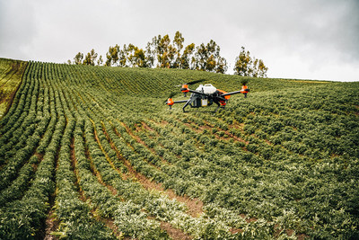 XAG Agricultural Drone as a sustainable solution sprayed potatoes on Ecuadorian Andes