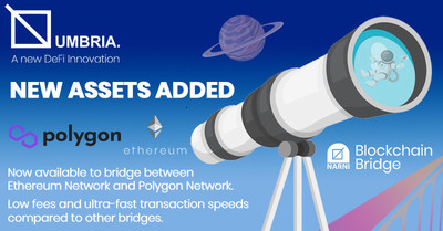 ETH and MATIC now available on Umbria Network's Narni Bridge. Liquidity providers currently earning up to 70% APY on ETH