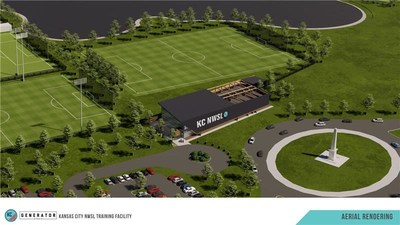 Aerial view of Kansas City NWSL's new 17,000 sq. ft. Training Facility, set to open in 2022