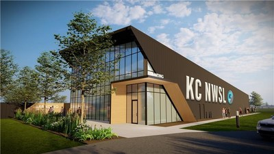 Iconic Entryway view of Kansas City NWSL's new 17,000 sq. ft. Training Facility, set to open in 2022