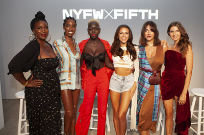 NYFW Influencers L-R moderator Darlene Gillard Jones, Nefatari Cooper, Nyakim Gatwech,Bri Wilburn,Alexandra Dieck, Jessica Markowski