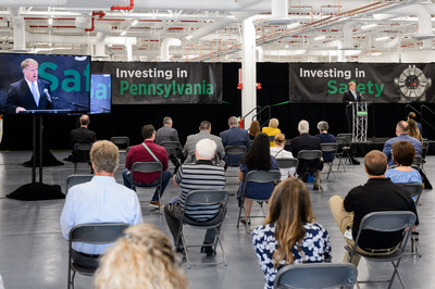 Allegheny County Executive Rich Fitzgerald speaks at the grand opening of MSA's newest manufacturing facility.