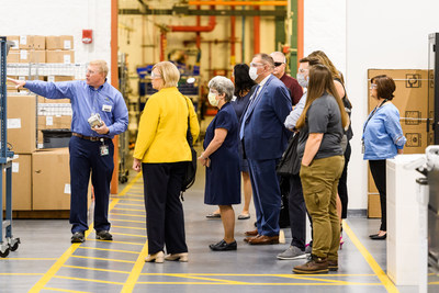 Leslie Osche, Chairman of the Board of Commissioners for the County of Butler, and other guest tour MSA's newest manufacturing facility during today's grand opening.