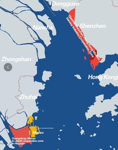 A zona de cooperação aprofundada de Guangdong-Macau em Hengqin e a moderna zona de cooperação do setor de serviços de Qianhai Shenzhen-Hong Kong (PRNewsfoto/Nanfang Media Group)