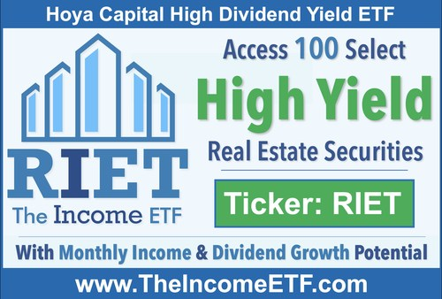 """RIET tracks the Hoya Capital High Dividend Yield Index (""""RIET Index""""), a rules-based index designed to provide diversified exposure to 100 of the highest dividend-yielding real estate securities in the United States.   RIET expects to pay monthly distributions. The RIET Index Dividend Yield as of 8/31/2021 is 6.70%.*  The launch of RIET follows the successful launch of Hoya Capital Housing ETF (Ticker: HOMZ), which was awarded the """"Most Innovative & Successful ETF Launch"""" of 2019 by ETF Express."""