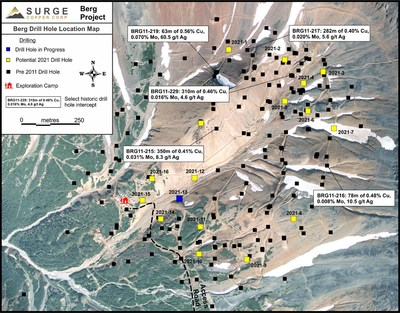 Figure 1. Plan map of drill hole locations for 2021 Berg drill program. (CNW Group/Surge Copper Corp.)