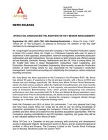 AFRICA OIL ANNOUNCES THE ADDITION OF KEY SENIOR MANAGEMENT (CNW Group/Africa Oil Corp.)