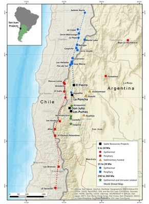 Figure 1. Location Sable's projects within the Miocene Mineral Belt of San Juan Argentina. (CNW Group/Sable Resources Ltd.)
