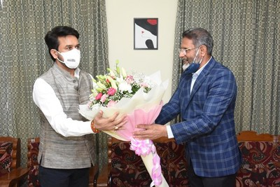 Review Meeting with hon'able union minister for youth affairs and sports, Sri Anurag Thakur and Chairman of JAIN Group, Mr.Chenraj Roychand.