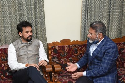 Meeting between Chairman of JAIN Group, Chenraj Roychand and Hon'able union minister of youth affairs and sports, Shri Anurag Thakur.