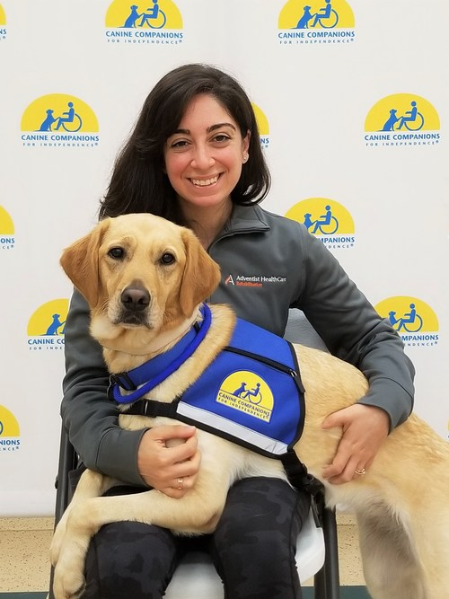 Facility Dog, Peru, with her handler, Dr. Heather Tropiano with Adventist HealthCare Rehabilitation, after their training together with Canine Companions.