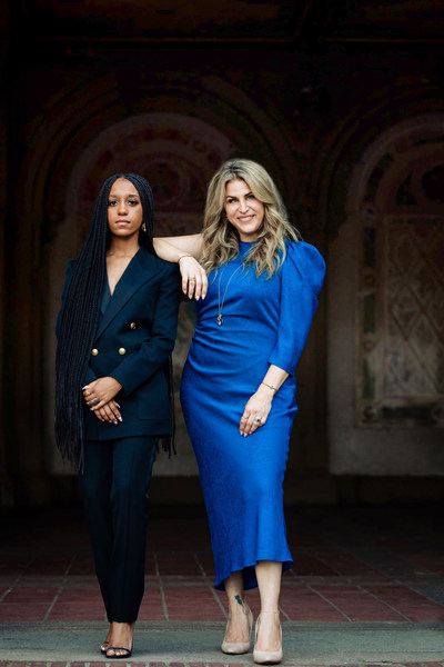 L to R: New York fashion stylist and image creator, Dy'amond Breedlove and Holly Daniels Christensen, Founder & CEO of Dune Jewelry & Co. on location in New York City for the Dune Jewelry LOVE22 and BREEDLOVE collections. Photo credit: Samantha Robshaw Photography.