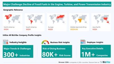 Snapshot of key challenge impacting BizVibe's engine, turbine, and power transmission equipment industry group.
