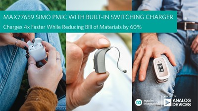 Analog Devices' MAX77659 SIMO PMIC with integrated switch-mode buck-boost charger charges wearables, hearables and IoT devices faster and in less space than any other PMIC available today