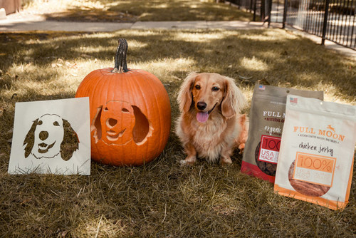 Winners of the Full Moon Pup-O'-Lantern Sweepstakes will receive a custom, one-of-a-kind stencil of their dog's face that they can use to carve or paint their pumpkin for Halloween this year, along with some tasty Full Moon treats for their pet.