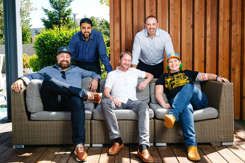 Executive leader additions alongside Netlify co-founders Matt Biilmann, CEO, and Chris Bach, Chief Strategy and Creative Officer.  Left to right: Chris Bach, Akram Hassan, Matt Biilmann, Marcus Bragg, Dana Lawson.