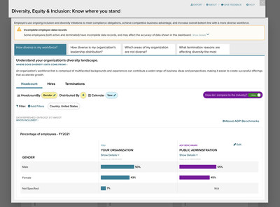 The new feature serves up benchmarks in-line and allows companies to compare their DEI metrics against similar companies.