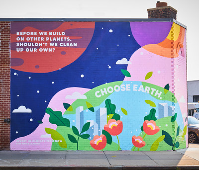 Located at 11 Franklin Street in Brooklyn's Greenpoint neighborhood, the goal of the mural is to raise awareness of real estate's role in the climate crisis and the need for significant investment into climate tech innovation.