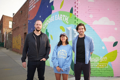 Fifth Wall's Brendan Wallace and Greg Smithies are pictured alongside muralist Steffi Lynn.