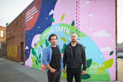 Fifth Wall's Brendan Wallace (L) and Greg Smithies (R) are pictured in front of the mural at 11 Franklin Street in Brooklyn's Greenpoint neighborhood.