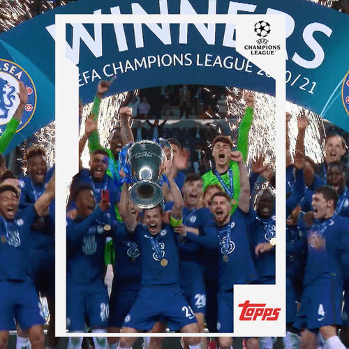 Commemorative card/sticker of the consecution of the 2020/2021 UEFA Champions League by Chelsea Football Club.