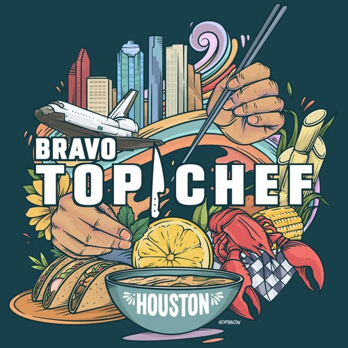 In addition to being a city with incredible food, Houston is known for its great street art. Bringing those two strands together, local artist David Maldonado has created a spectacular mural interpretation of the Top Chef logo.