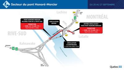 Pont Honoré-Mercier - une voie ouverte par direction (Groupe CNW/Ministère des Transports)