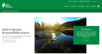 Homepage of the Hormel Foods 2020 Corporate Responsibility Report available at https://csr.hormelfoods.com/.